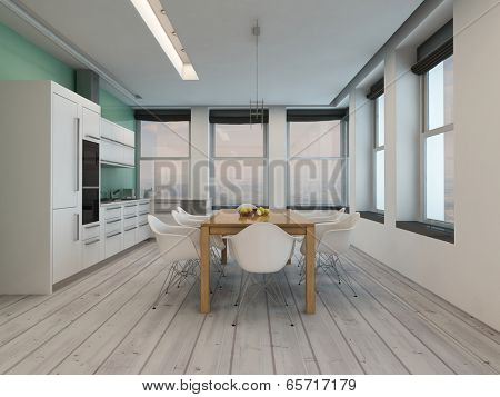 Modern kitchen dining room interior with large windows on two walls, a stylish modern table and chairs and kitchen counter and appliances on a painted parquet floor