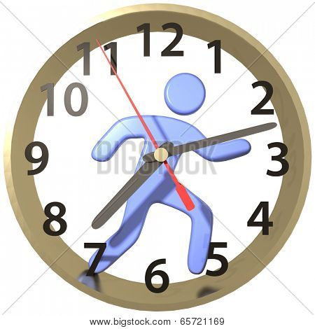 Busy person hurry runs work day race inside the time clock