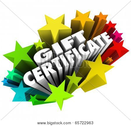 Gift Certificate voucher stars shop for products, merchandise or services store shopping