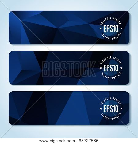 Set of dark blue website header or banner templates