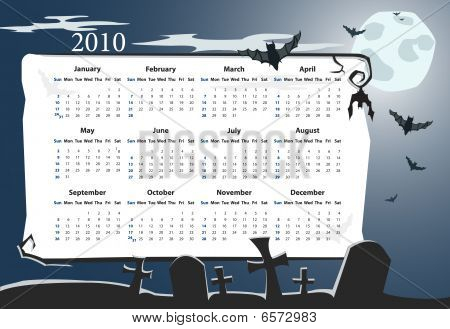 Vector American Halloween calendar with cemetery