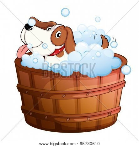 Illustration of a cute puppy taking a bath on a white background