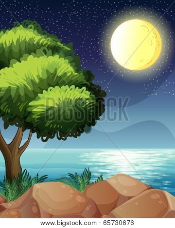 Illustration of a bright moon and the beautiful nature