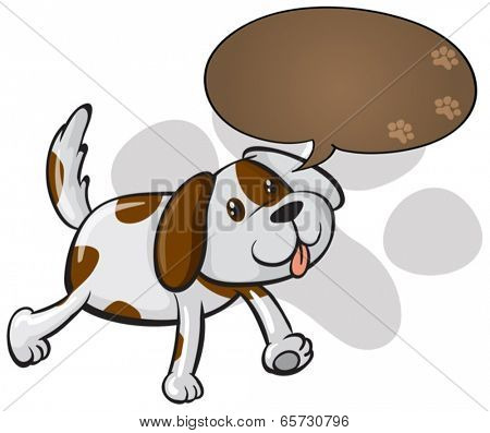 Illustration of a cute dog with an empty callout on a white background