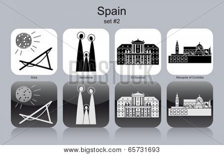 Landmarks of Spain. Set of monochrome icons. Editable vector illustration.