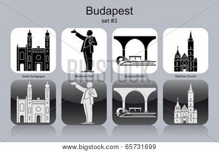 Landmarks of Budapest. Set of monochrome icons. Editable vector illustration.