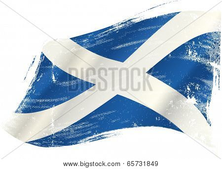 A scottish flag in the wind with a texture