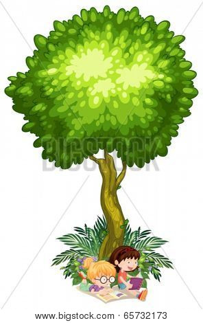 Illustration of the girls reading under the tree on a white background