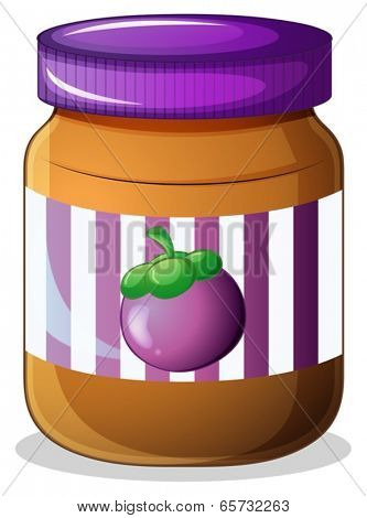 Illustration of a jar of eggplant jam on a white background