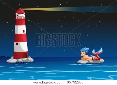 Illustration of a smiling mermaid across the lighthouse