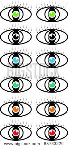 Set of vector colored eye symbols