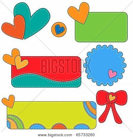 Colorful tags labels and bow with hearts