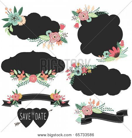 Chalkboard Retro Frames Wedding elements- Illustration