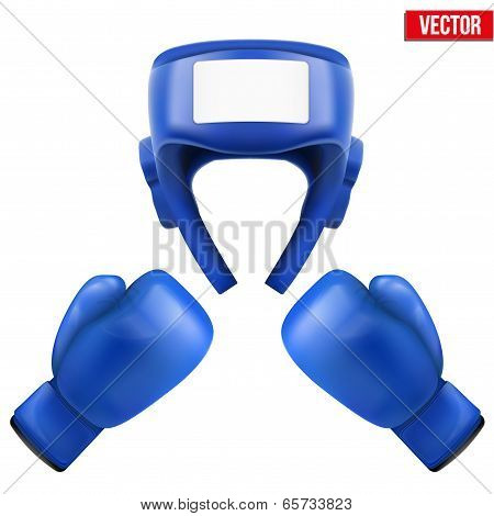 Boxing Helmet And Gloves. Vector Illustration.