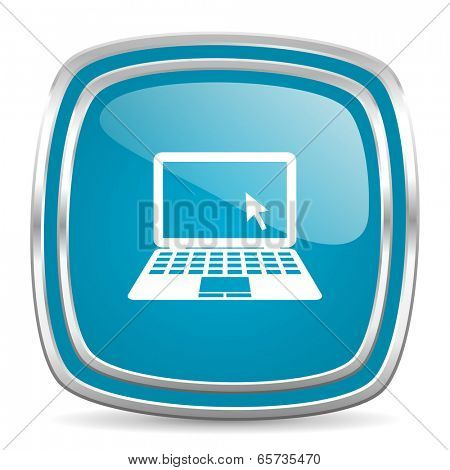 computer blue glossy icon