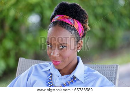 Stock head shot of a Jamaican woman