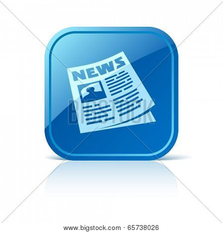 Newspaper icon on blue web button