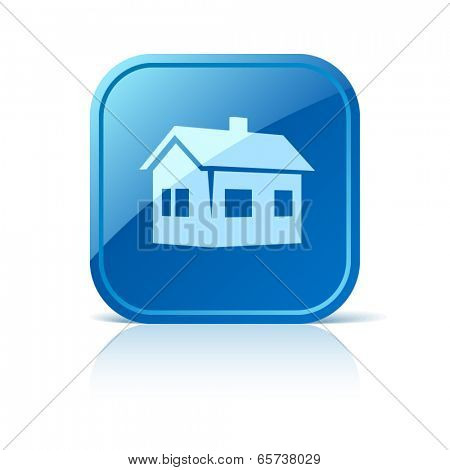 House icon on blue web button