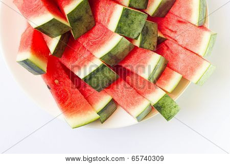 watermelon on a white plate