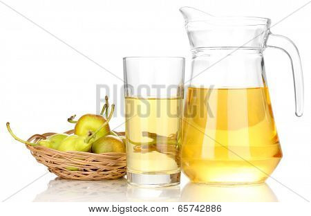 duchess drink with pears in basket isolated on white