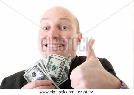 Successful Businessman Winner Dollars
