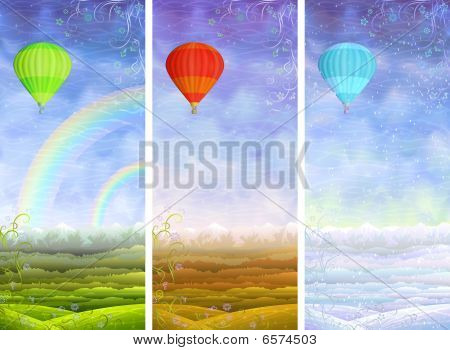 Summer, fall, winter landscapes with balloons