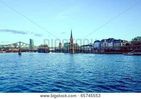 FRANKFURT, HESSE-February 12 : view of Frankfurt am Main. Frankfurt, is the largest city in the German state of Hesse and the fifth-largest city in Germany, February 12, 2014 in Frankfurt, Germany.