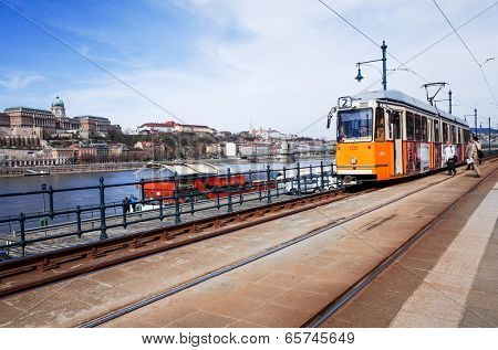 Typical,Tramway in Budapest, Hungary.-March 20: Typical,Tramway on March 20, 2014. Beautiful Tramway in Budapest, Hungary, Europe
