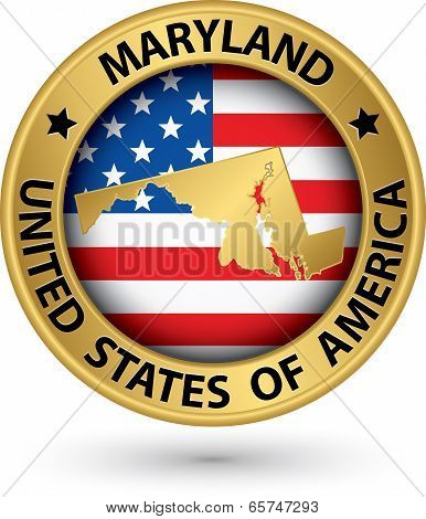 Maryland State Gold Label With State Map, Vector Illustration