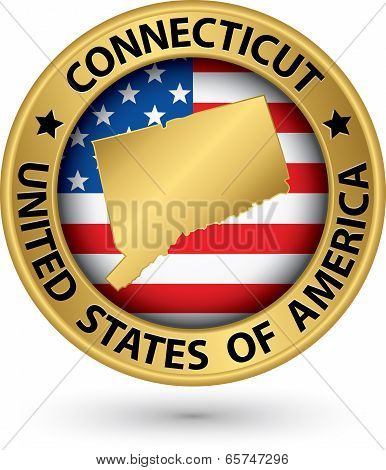 Connecticut State Gold Label With State Map, Vector Illustration