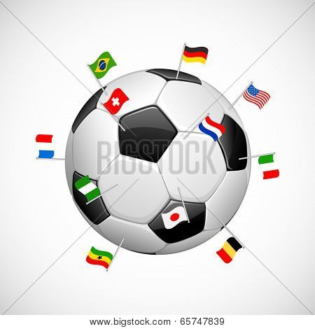illustration of flag of participating countries on soccer ball in Football background