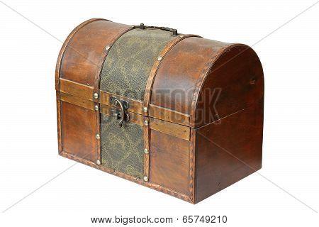 Vintage Wooden Box On White
