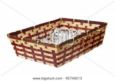 Wattle Basket On White