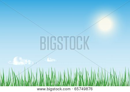 Sun Rise Or Sunset Over  Green Field Of Grass With Bright Blue Sky.