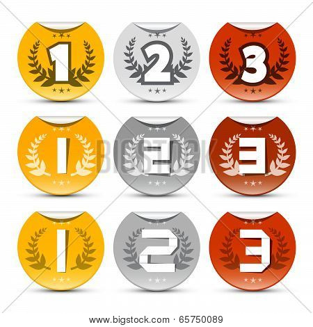 Gold, Silver, Bronze - First, Second and Third Place Vector Labels with Bent Edges Set