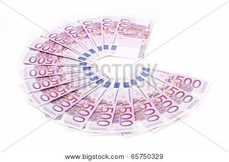 five  hundred Euro bank notes fanned