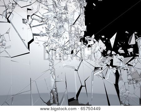 Pieces Of Shattered Glass On Black Background