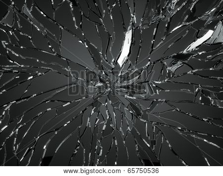 Sharp Pieces Of Shattered Black Glass