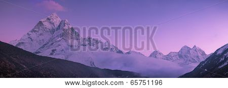 Ama Dablam Peak And Purple Sunset In Himalayas