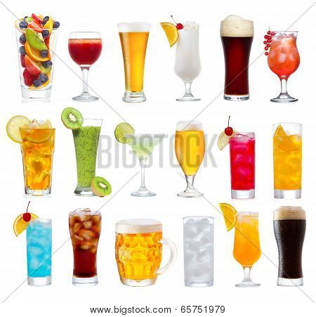 Set Of Various Drinks, Cocktails And Beer