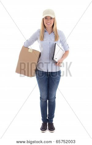 Young Woman Delivering Package Holding Clipboard Isolated On White
