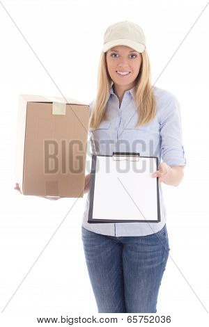 Post Delivery Service Woman With Box And Blank Clipboard Isolated On White