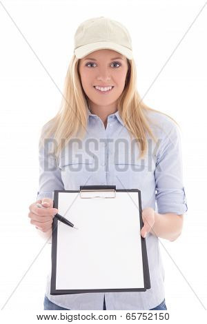 Post Delivery Service Woman With Blank Clipboard Isolated On White