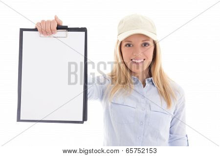 Post Delivery Service Woman Holding Blank Clipboard Isolated On White