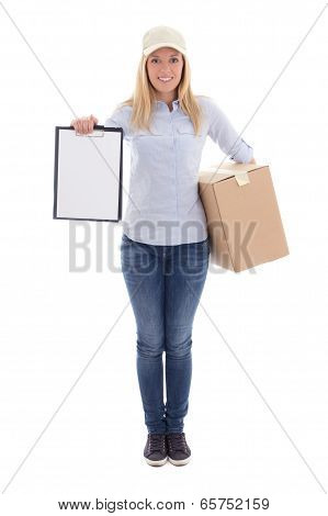 Post Delivery Service Woman Holding Blank Clipboard And Cardboard Box Isolated On White