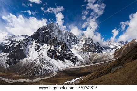 Pheriche Valley And Cholatse Peak In Himalaya