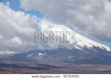 Mount Fuji and cloud from Lake Yamanaka