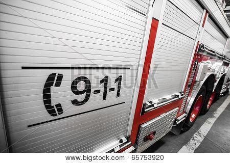 Red Firetruck Details Of The Right Side
