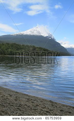 Patagonian Landscape With Lake And Mountain. Argentina