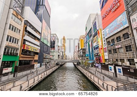 OSAKA - April 18 : Dotonbori scenery, the main entertainment and shopping district for tourists and locals alike on April 18, 2014 in Osaka, Japan.